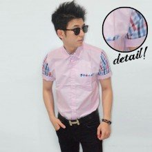 Kemeja Short Oxford Sleeve Tartan Soft Pink