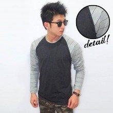 Raglan Sleeve Big Stripe Black Grey