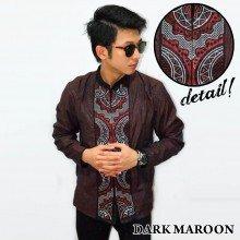 Baju Koko Panjang Bordir Abstract Dark Maroon