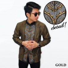 Baju Koko Panjang Bordir Abstract Gold