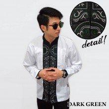 Baju Koko Panjang White Bordir Kotak Dark Green