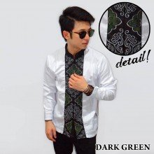 Baju Koko Panjang White Bordir Ornamental Dark Green
