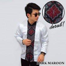 Baju Koko Panjang White Bordir Ornamental Dark Maroon
