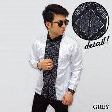 Baju Koko Panjang White Bordir Ornamental Grey
