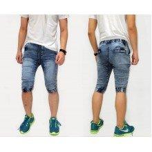 Joggers Capri Pants Acid Wash Blue Kakkoii