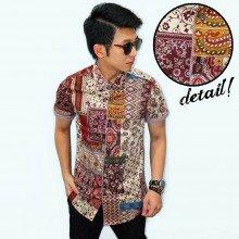 Kemeja Short Batik Perca Classic Maroon