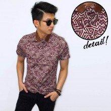Kemeja Short Batik Zig Zag Maroon