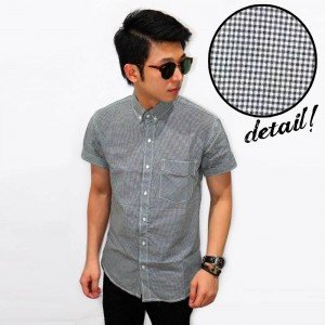 Kemeja Short Black Small Check