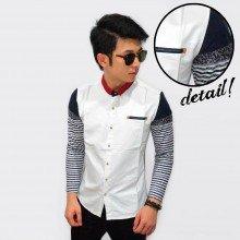 Kemeja White Sleeve Knit Stripe