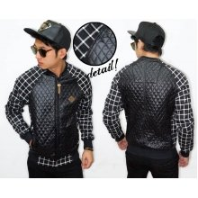 Varsity Jacket Leather Quilted Sleeve Square