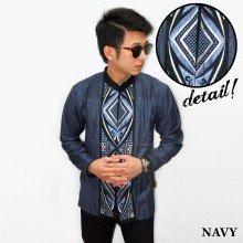 Baju Koko Panjang Bordir Ketupat Vector Navy