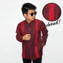 Baju Koko Panjang Double Bordir List Maroon