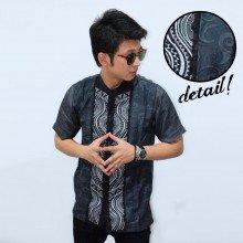 Baju Koko Pendek Bordir Combine Batik Grey