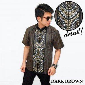 Baju Koko Pendek Bordir Gear Dark Brown