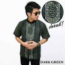 Baju Koko Pendek Bordir Gear Dark Green