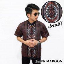 Baju Koko Pendek Bordir Gear Dark Maroon