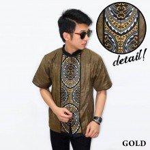 Baju Koko Pendek Bordir Gear Gold
