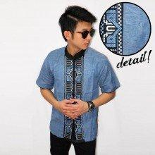Baju Koko Pendek Bordir Tenun Soft Blue