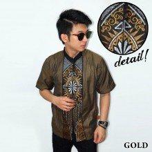 Baju Koko Pendek Bordir Vector Cahaya Gold