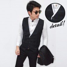 Vest White List Collar Black