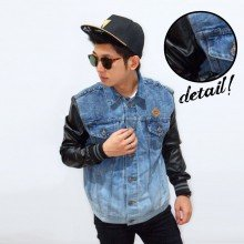 Jacket Denim Sleeve Leather Black