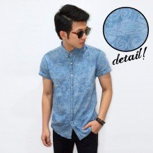 Kemeja Short Denim Dim Cloudy Vector Batik