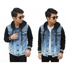 Jacket Denim Terry Sleeve And Hoodie