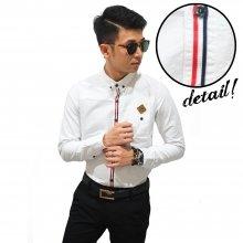 Kemeja Long Oxford Ribbon List White