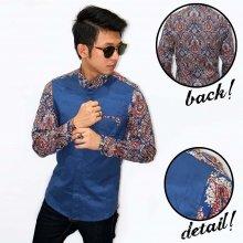 Kemeja Combination Batik Abstract Colorful Navy