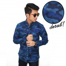 Kemeja Flannel Camouflage Army Blue