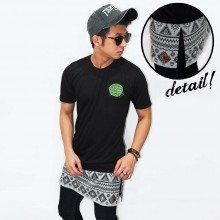 Longline T-Shirt Tribal Black