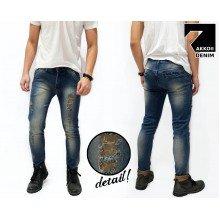 Jeans Pants Ripped Skinny Rocker Kakkoii Dark Blue