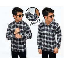 Kemeja Flannel Hooded Modern Tartan Black