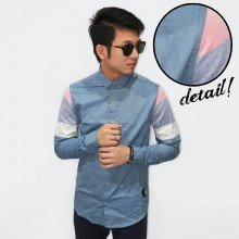 Kemeja Oxford Sleeve Three Color Block