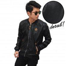 Bomber Jacket Leather Essential Black