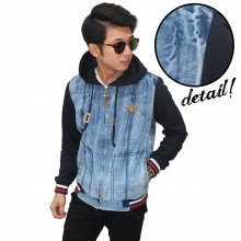Jacket Denim Hoodie Root Wash Blue