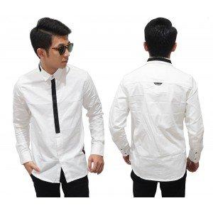 Kemeja Formal Fake Tie White