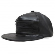 Topi Snapback Leather Three Zipper Black