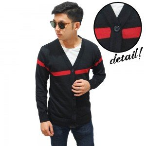 Cardigan Middle Red Line Black