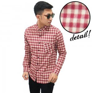 Kemeja Flanel Square Red And Cream