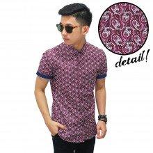 Kemeja Pendek Batik Circle Abstract Magenta