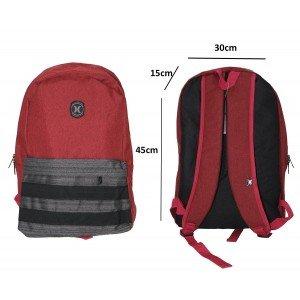 Tas Backpack Pocket Stripe Maroon