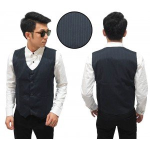 Vest Formal Stripe Black