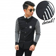 Kemeja Sleeve Stripe Essential Black