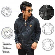 Jacket Hoodie With Earphone Crack Black