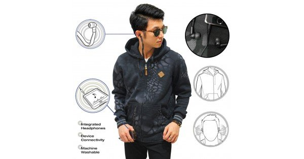 Jacket Hoodie With Earphone Crack Black -