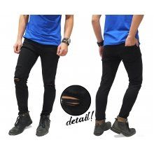 Jeans Simple Ripped On Knee Black