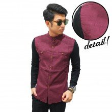 Kemeja Shanghai Double Button Maroon