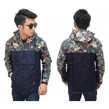 Jacket Hoodie Two Tone Floral