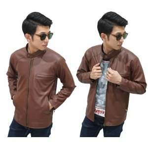 Jacket Leather Biker Brown